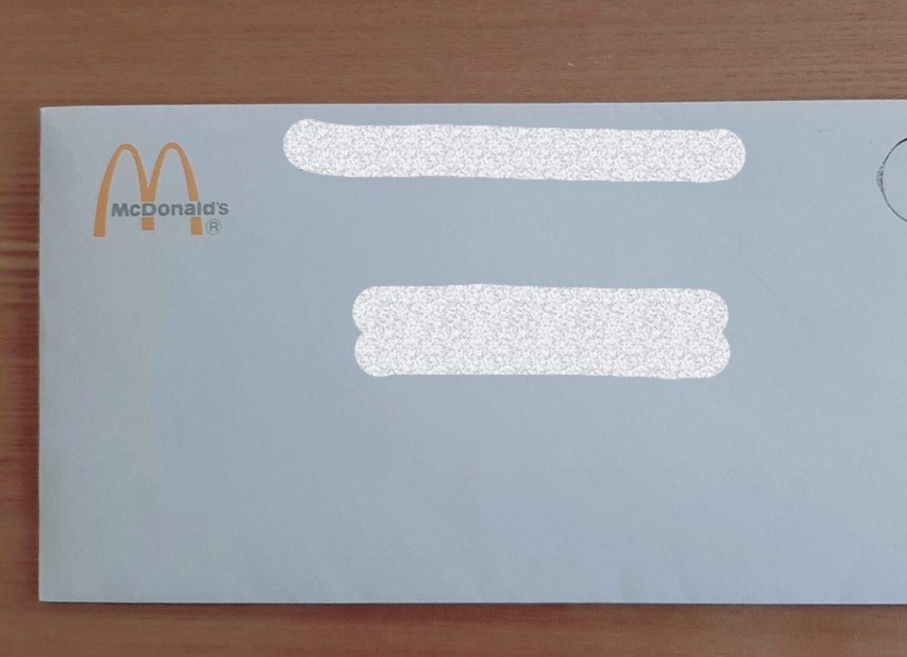 マクドナルドの封筒